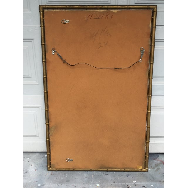 Bronze 1970s Hollywood Regency Gilt Faux Bamboo Large Mirror For Sale - Image 7 of 8