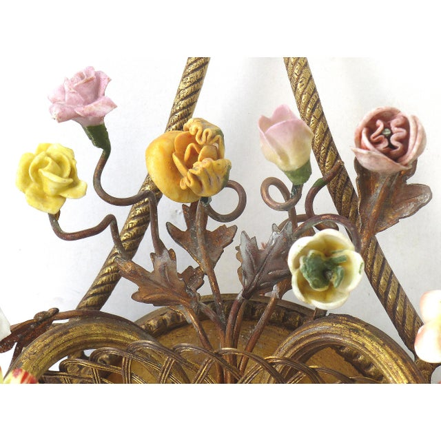 Antique French Bronze and Porcelain Floral Basket Sconces - a Pair - Image 7 of 10