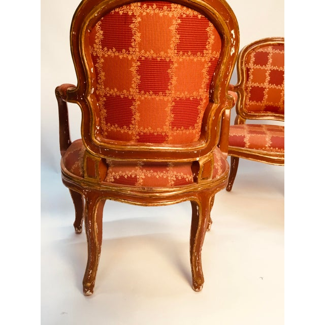 19th Century Venetian Louis XV Style Painted and Gilt Armchairs- A Pair For Sale - Image 4 of 13