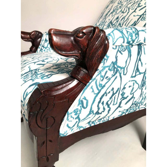 Teal Late 19th Century Victorian Lounge Chair With Carved Dog Head Armrests For Sale - Image 8 of 13