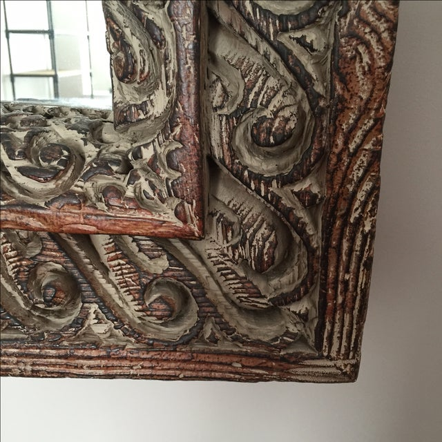 South Asian Style Faux Wood Mirror - Image 5 of 5