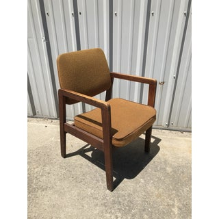 1980s Vintage Solid Walnut Arm Chair Preview