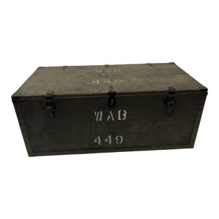 Vintage Drab Green Military Wood Foot Locker Trunk For Sale
