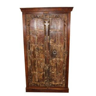 1920s Rustic Handcarved Old Wood Iron Door Armoire For Sale