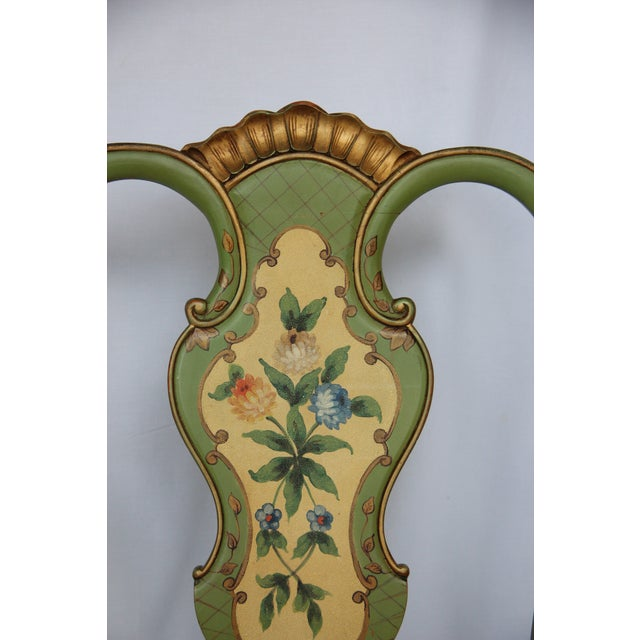 1920s 1920s Vintage Italian Venetian Hand Painted Fauteuil Arm Chair For Sale - Image 5 of 11