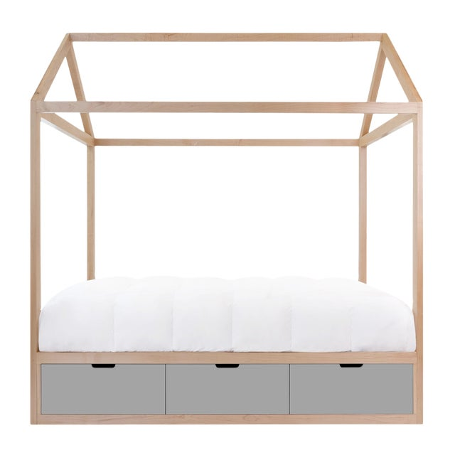 Domo Zen Twin Canopy Bed in Maple With Gray Finish Drawers For Sale