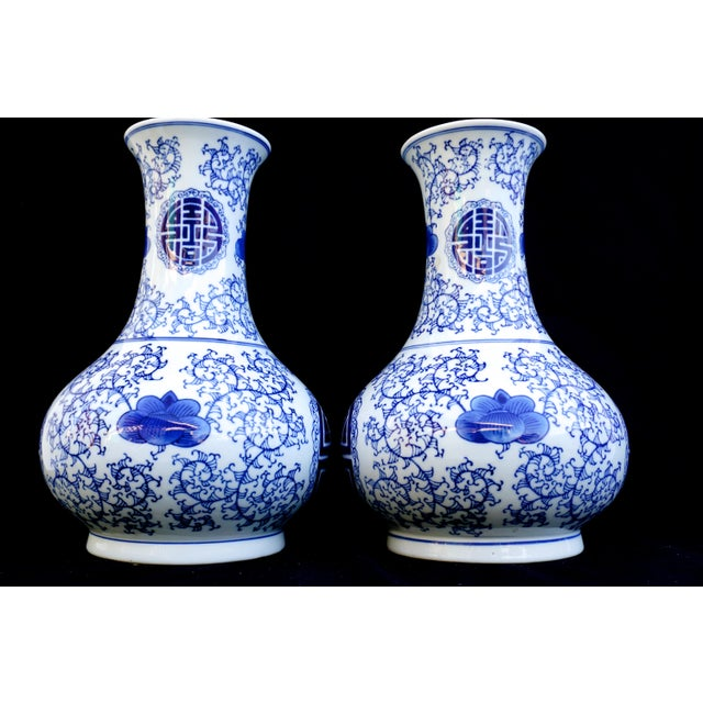 Large Vintage Chinese Blue White Porcelain Vases A Pair Chairish