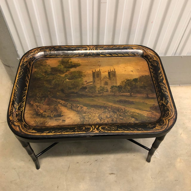 Faux Bamboo Table With Painted Tray For Sale - Image 9 of 12