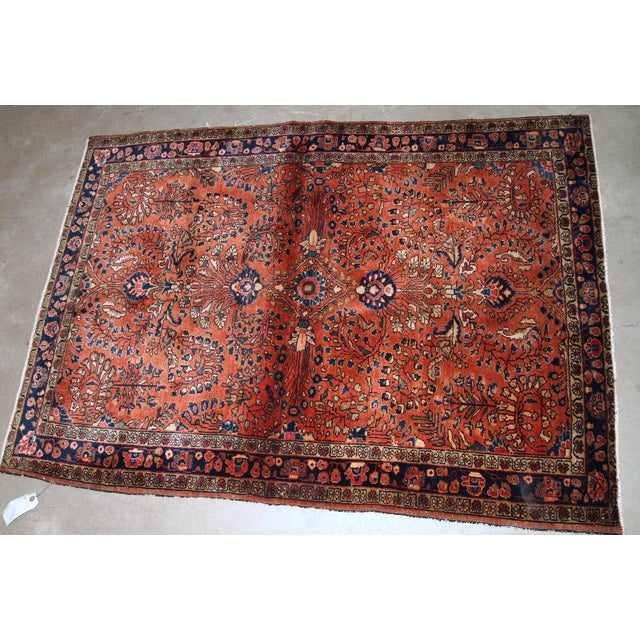 Islamic 1920s, Handmade Antique Persian Sarouk Rug 3.5' X 5.5' For Sale - Image 3 of 6