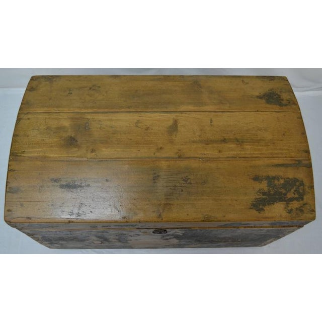 Pine Painted Dome-Top Trunk For Sale - Image 9 of 10
