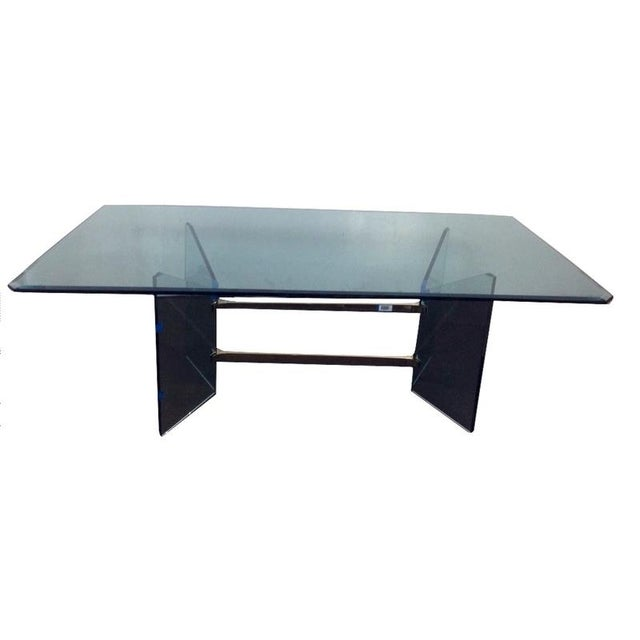 Mid-Century Modern French Tempered Glass Table - Image 4 of 4