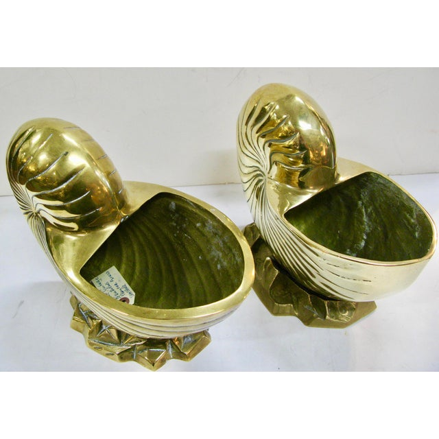 Vintage Huge Brass Nautilus Seashell Planters - a Pair For Sale - Image 12 of 14