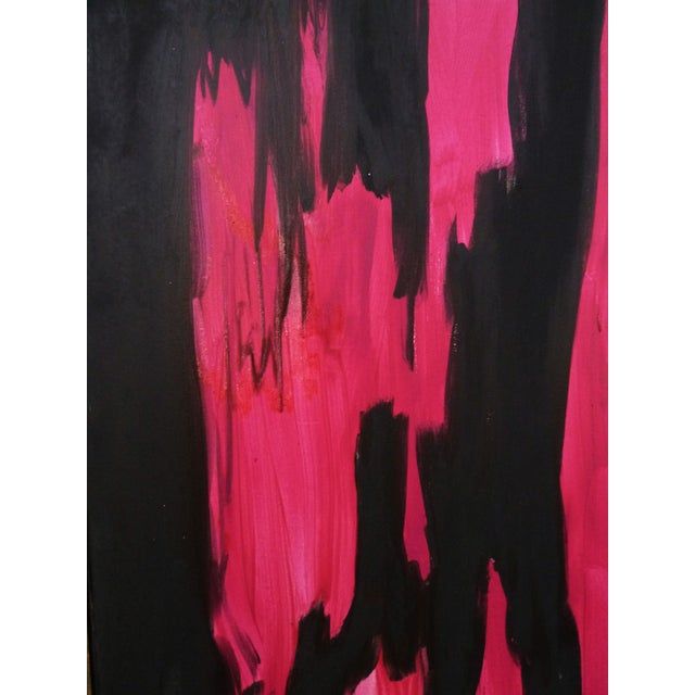 Black & Pink Expressionist Painting by Miripolsky - Image 2 of 4