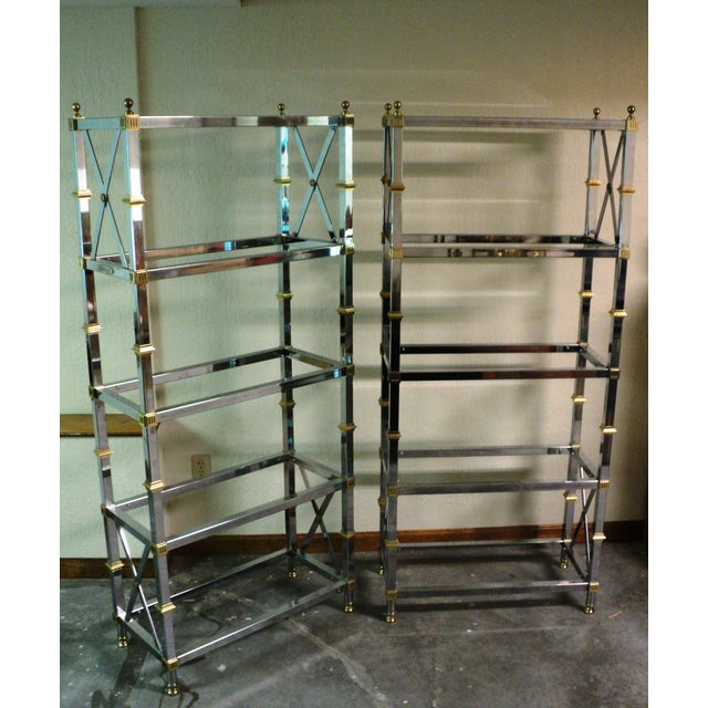 Jansen Style Neoclassical Chrome Etageres - Pair - Image 4 of 7