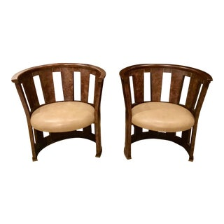 A Pair of Caracole Burl-Esque Barrel Chairs For Sale
