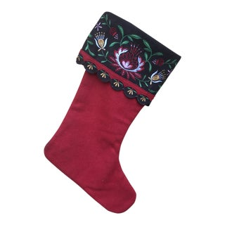 1980s Bohemian Style Wool Embroidered Christmas Stocking For Sale