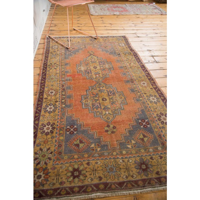 "Vintage Distressed Oushak Rug - 3'9"" x 6'6"" - Image 10 of 11"
