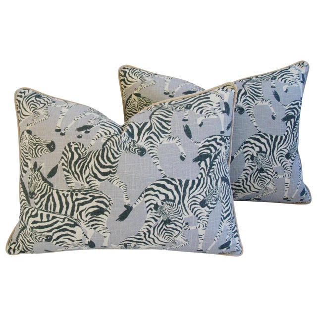 "Custom Safari Zebra Linen/Velvet Feather & Down Pillows 24"" x 18"" - Pair For Sale"