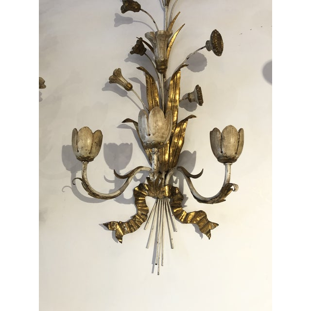 1930s Gold Gilt Iron Carved Wood French Tulip Motife Candle Sconces -Pair For Sale - Image 5 of 13