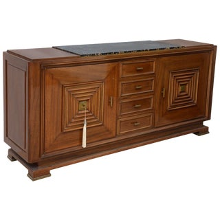 Fine Late Art Deco Mahogany and Marble-Top, Bronze-Mounted Buffet For Sale