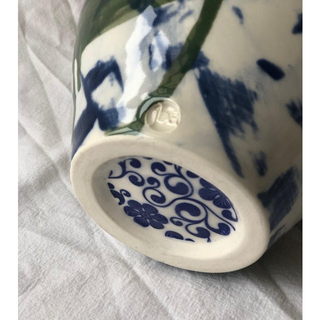 Asian Contemporary Ceramic Chrysanthemum Vase With Handles For Sale - Image 3 of 6