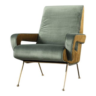 Mid Century Velvet Armchair For Sale