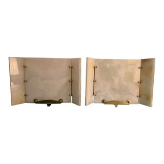 1950s Vintage Alabaster Brass Tri Fold Wall Sconce - a Pair For Sale
