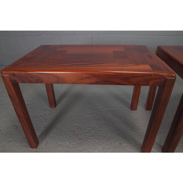 Rosewood Pair of Danish Modern Rosewood Side Tables For Sale - Image 7 of 10