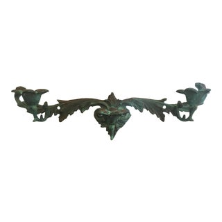 Early 20th Century Verdigris Wall Mounted Triple Candle Holder For Sale
