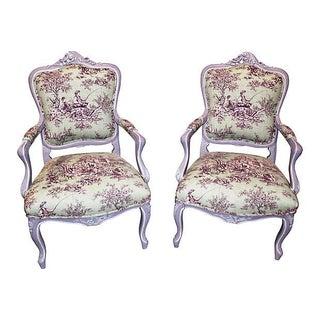 Antique Louis XV-Style Fauteuils - A Pair For Sale