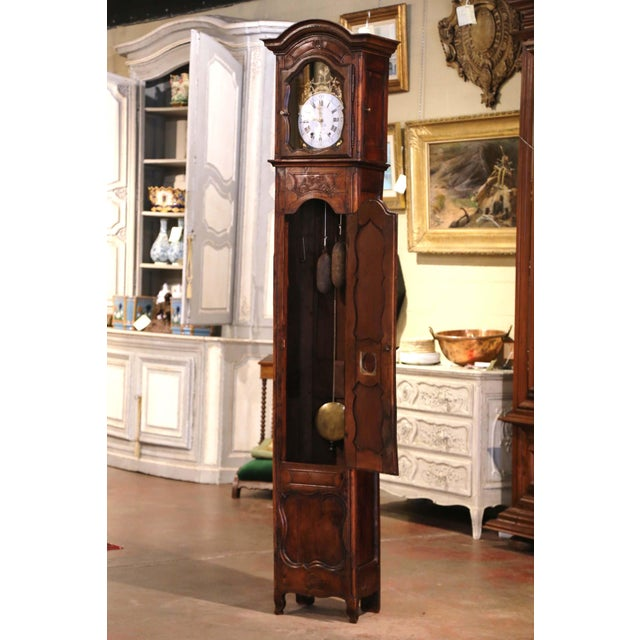 Metal 18th Century French Louis XV Carved Walnut and Burl Case Clock With Rooster For Sale - Image 7 of 12