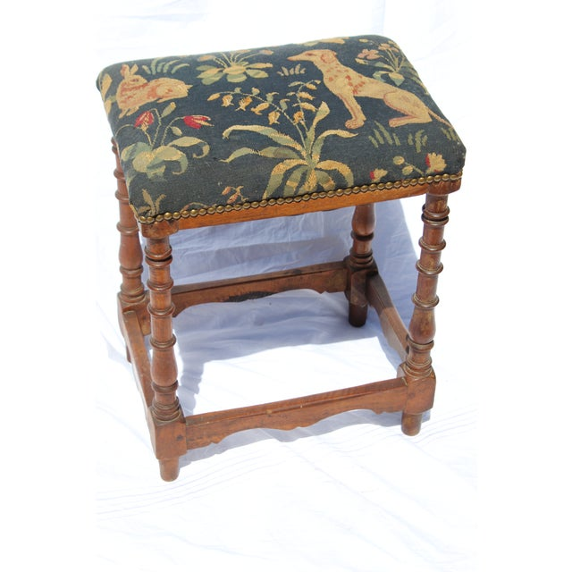 French 17th C. French Needlepoint Stool For Sale - Image 3 of 8