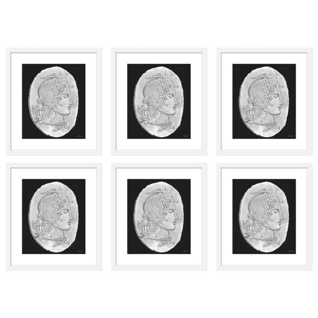 """Large """"Medusa Black & White Coin, Set of 6"""" Print by Michelle Farro, 51"""" X 38"""" For Sale"""