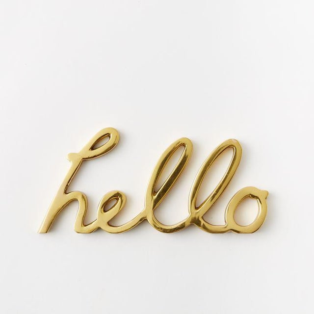"""West Elm Solid Brass Word Cursive Art """"Hello"""" For Sale - Image 4 of 4"""