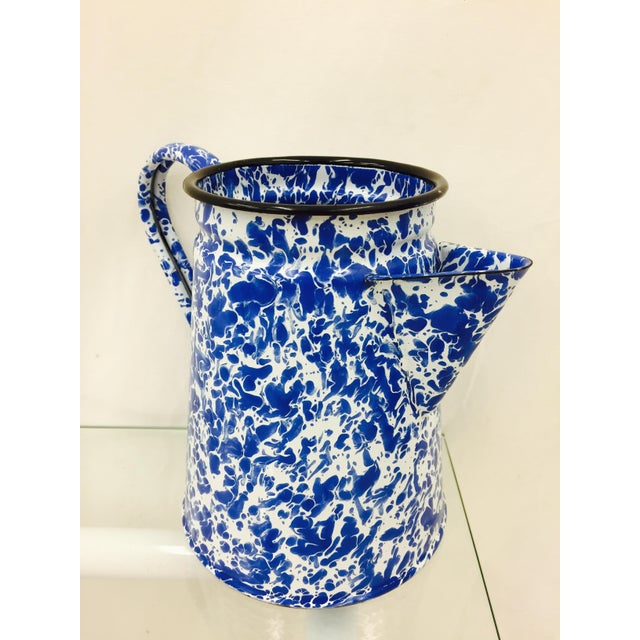 Blue & White Paint Splattered Enamel 5-Piece Tea Set For Sale - Image 11 of 11