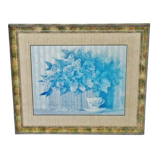 Vintage 1990 Framed Gallery Floral Still Life Lithograph For Sale