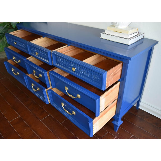 Permacraft Nine Drawer Navy Blue Dresser With Carved Front For Sale - Image 11 of 13