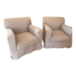 Christian Liagre Lavender Linen Armchairs - a Pair For Sale