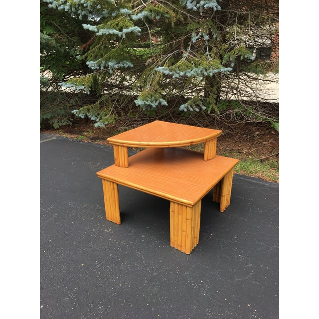 Mid-Century Rattan 2-Piece Table For Sale In Chicago - Image 6 of 6
