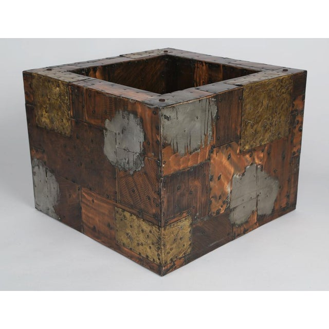 1970s PAUL EVANS PEWTER, BRASS AND COPPER PATCHWORK COCKTAIL TABLE, CIRCA 1970S For Sale - Image 5 of 7