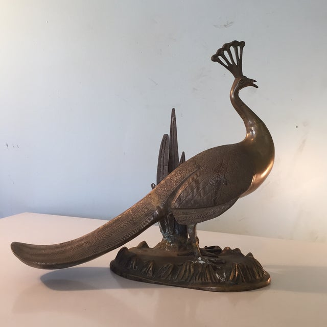 Brass Patina Peacock Sculpture For Sale - Image 9 of 9