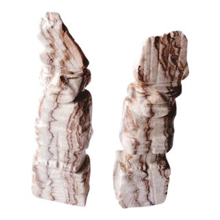 1900s Figurative Solid Stone Primative Figurines - a Pair
