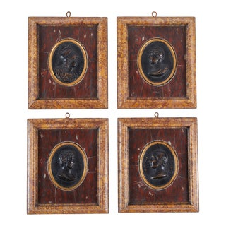19th Century, Italian Marble and Bronze Reliefs, Set of Four For Sale
