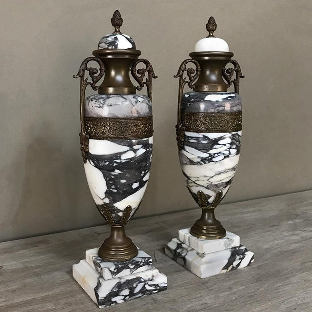 French Mantel Urns/Cassolettes, 19th Century French Marble & Bronze - a Pair For Sale - Image 3 of 12