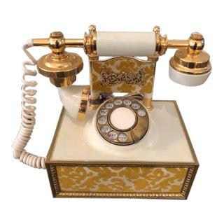 1960's Vintage Gold & White Velvet Telephone For Sale