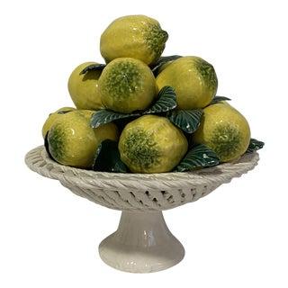 Italian Majolica Lemon Compote For Sale