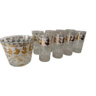 Roman Gold Goddess Glasses and Ice Bucket - 13 Piece Set For Sale