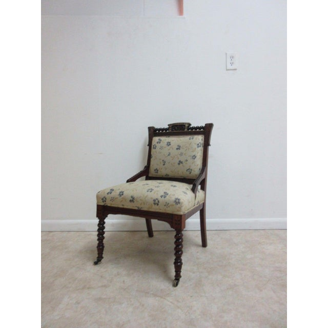 A Victorian carbed lounge chair. Nice shape. shows some age related wear and a few minor repairs.