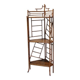 Late 20th Century Bamboo Corner Bookshelf For Sale