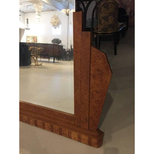 French Art Deco Burl Wood Wall or Standing Mirror For Sale - Image 4 of 6